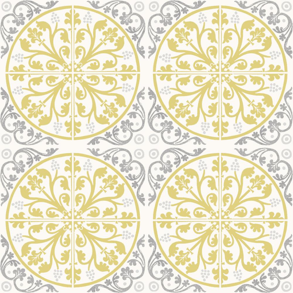 ヨーロッパのデコラティブなデザインをミックスしたプリントタイル。 カラーはベージュとイエロー。 室内のアクセントとして、様々なシーンでご使用いただけます。