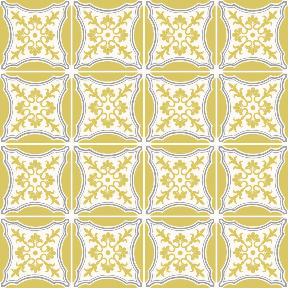 ヨーロッパのデコラティブなデザインをミックスしたプリントタイル。 ベージュ、イエロー、グレーの鮮やかなカラーです。 室内のアクセントとして、様々なシーンでご使用いただけます。