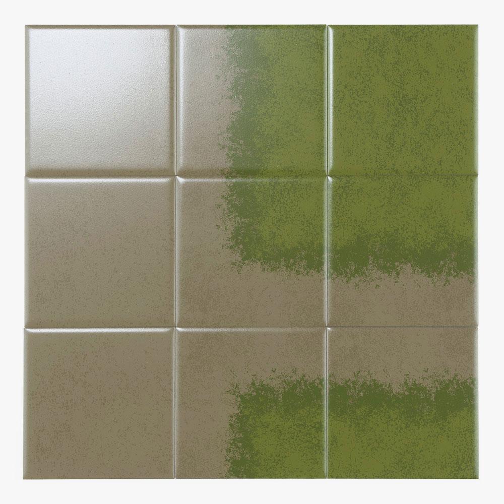 グラデーションタイルと、テクスチャーの入った単色タイルの組み合わせで、自由なグラデーション表現が可能です。カーペットにプリントすれば、芝生をイメージさせるデザインになります。