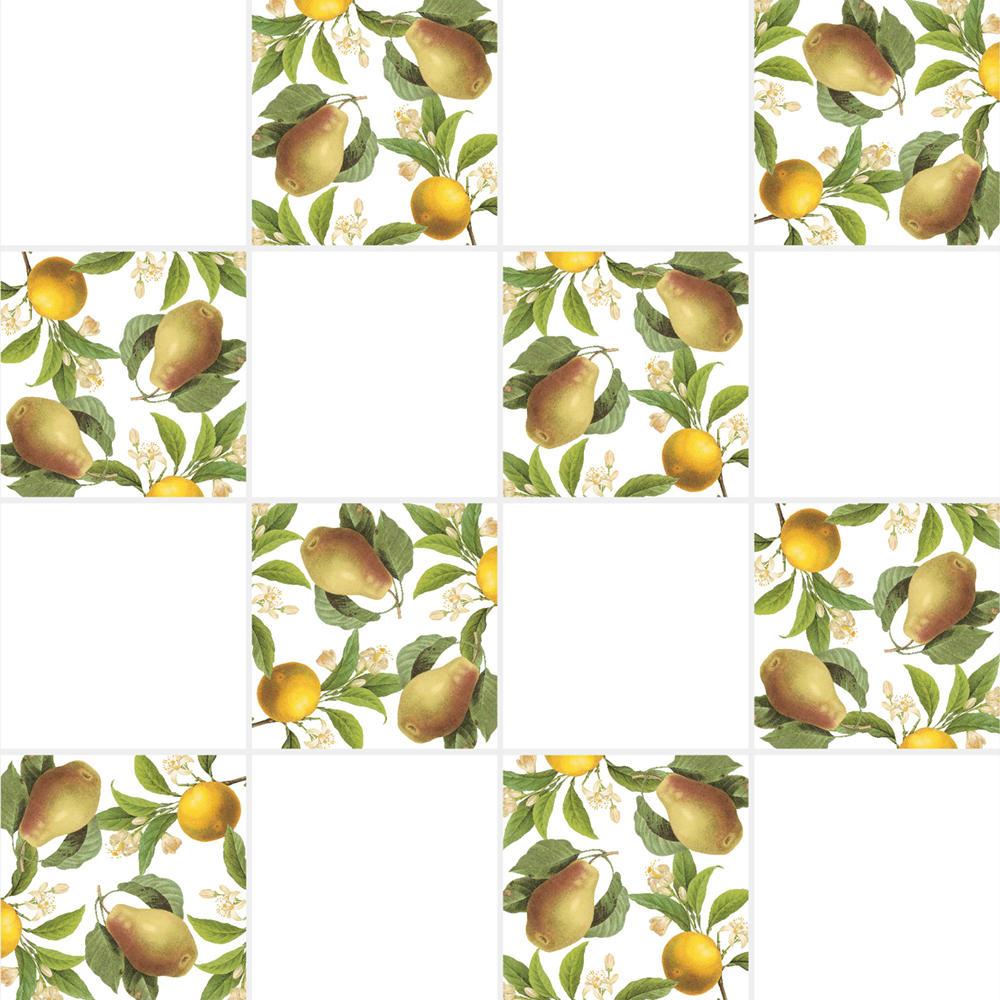 アンティークの図版の果物のイラストのイメージを施したタイルです。壁タイル、床タイル、Pタイルとしてご利用頂けます。果物の他のシリーズのタイルや白いタイル等と組み合わせてオーダー頂く事が可能です。