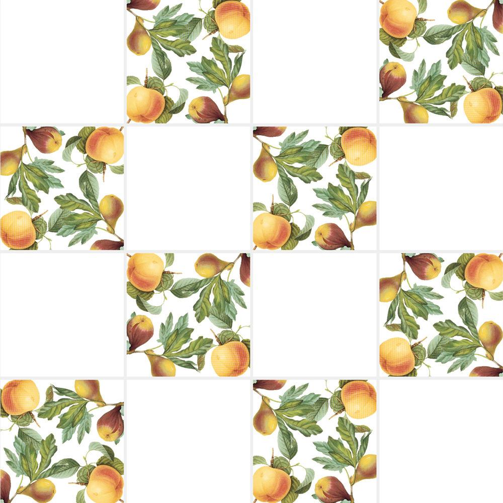 アンティークの図版の桃などの果物のイラストのイメージを施したタイルです。壁タイル、床タイル、Pタイルとしてご利用頂けます。果物の他のシリーズのタイルや白いタイル等と組み合わせてオーダー頂く事が可能です。