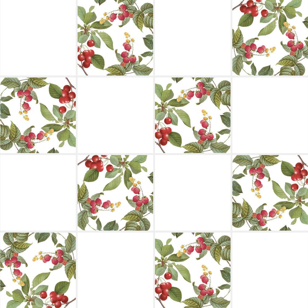 アンティークの図版のサクランボやラズベリーなどの果物のイラストのイメージを施したタイルです。壁タイル、床タイル、Pタイルとしてご利用頂けます。果物の他のシリーズのタイルや白いタイル等と組み合わせてオーダー頂く事が可能です。