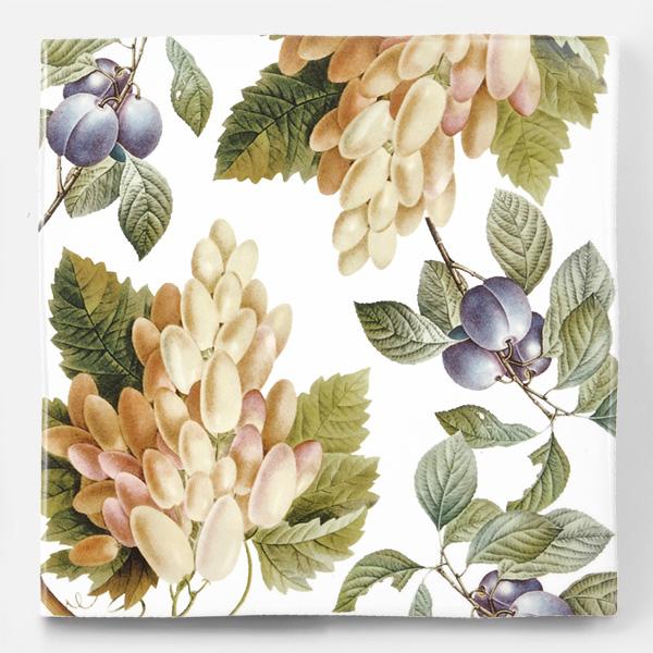 アンティークの図版の白ぶどうやプルーンなどの果物のイラストのイメージを施したタイルです。壁タイル、床タイル、Pタイルとしてご利用頂けます。果物の他のシリーズのタイルや白いタイル等と組み合わせてオーダー頂く事が可能です。