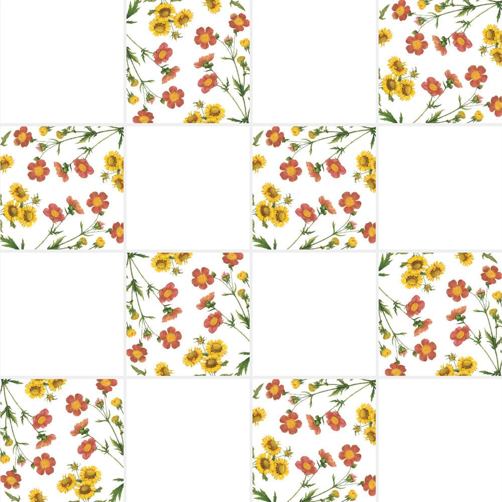 アンティークの図版の植物の花柄のイラストのイメージを施したタイルです。壁タイル、床タイル、Pタイルとしてご利用頂けます。他のイラストタイルタイルや白いタイル等と組み合わせてオーダー頂く事が可能です。