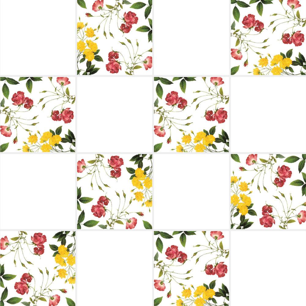 アンティークの図版のバラ等の植物の花柄のイラストのイメージを施したタイルです。壁タイル、床タイル、Pタイルとしてご利用頂けます。他のイラストタイルタイルや白いタイル等と組み合わせてオーダー頂く事が可能です。