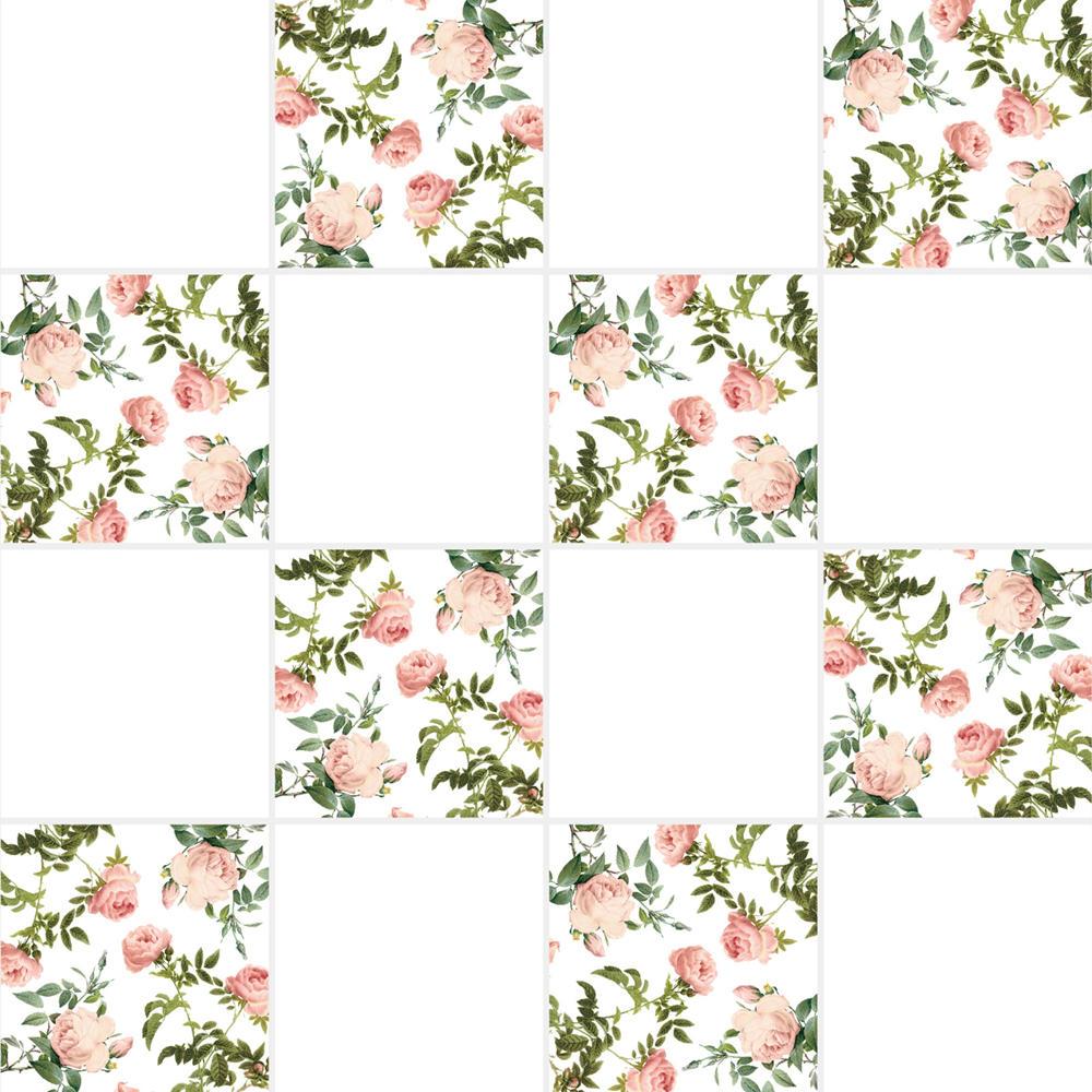 アンティークの図版のバラ柄のイラストのイメージを施したタイルです。壁タイル、床タイル、Pタイルとしてご利用頂けます。他のイラストタイルタイルや白いタイル等と組み合わせてオーダー頂く事が可能です。