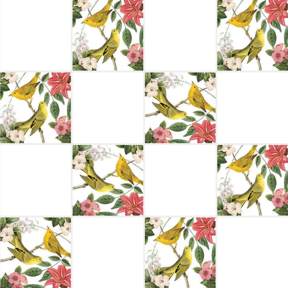 アンティークの図版の鳥と植物柄のイラストのイメージを施したタイルです。壁タイル、床タイル、Pタイルとしてご利用頂けます。他のイラストタイルタイルや白いタイル等と組み合わせてオーダー頂く事が可能です。