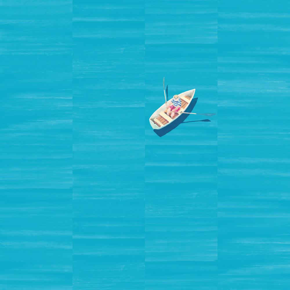 光沢のあるグロス仕上げが似合うブルーのテクスチャータイルにボートのデコピースをはめることで、一面が海の様にも見えるギミックタイル。ILL-1301 ブルーのタイルは、八種類の異なるテイクスチャーがあるため、単一柄のみでも表情豊かに仕上がります。デコピースト(ILL-1302)と組み合わせ遊び心ある表現が可能です。