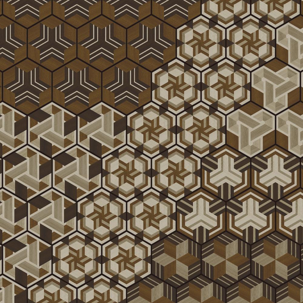 ヘキサゴンタイルに和柄の木目をプリントした、モダンなデザインをリリース。高級感のある木目調の組木柄がシックな空間を演出します。6柄を組み合わせても、1柄のリピートでも使用できる、使いやすいデザインです。