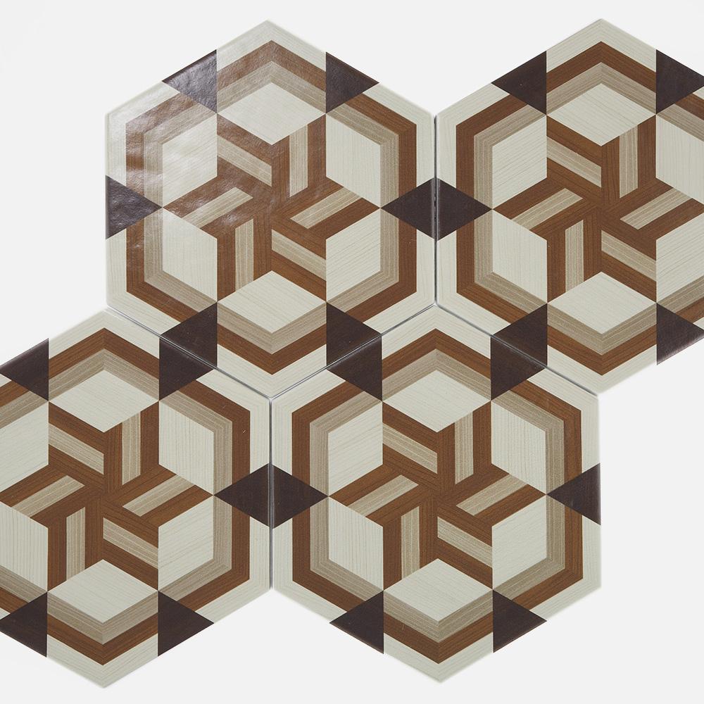 ヘキサゴンタイルに、和柄の木目をプリントしたモダンな印象のデザインタイル。 和モダンの空間にマッチする、デザイン性の高いタイルです。  色味は、茶色と黒を基調にしたシックな配色です。 6柄を組み合わせてご使用することも可能です。