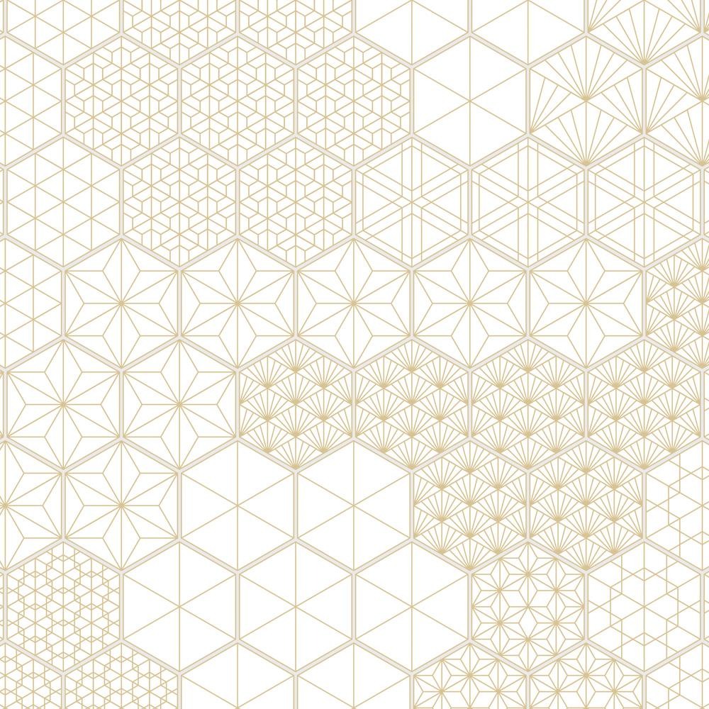 ヘキサゴンに和柄の幾何図形を落とし込んんだデザインタイル。白地にベージュ色の使いやすい配色で、様々なシーンでご利用頂けます。6柄×サイズの違い2パターンの、合計12柄をミックスしてご使用イタタだけます。