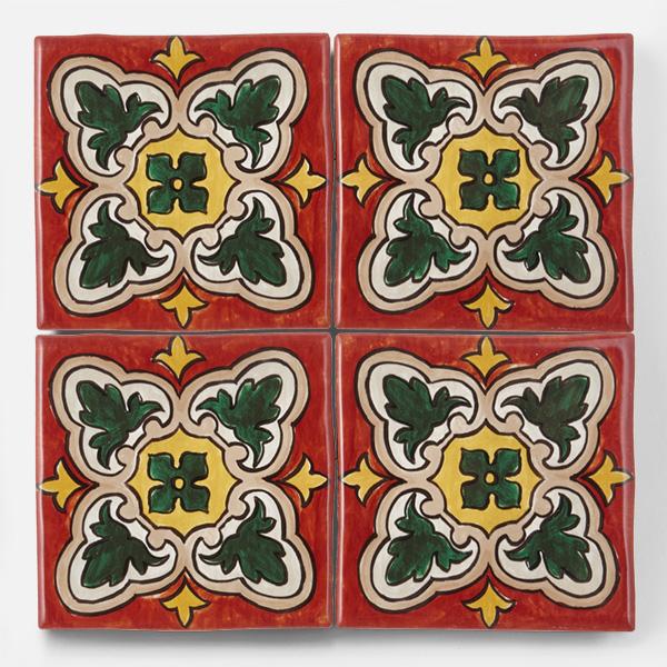 南米タイル、南イタリアタイル、スペインタイルなどをイメージした、手書きの配色・デザインをプリントしたタイルです。渋い赤茶色が特徴のタイルです。