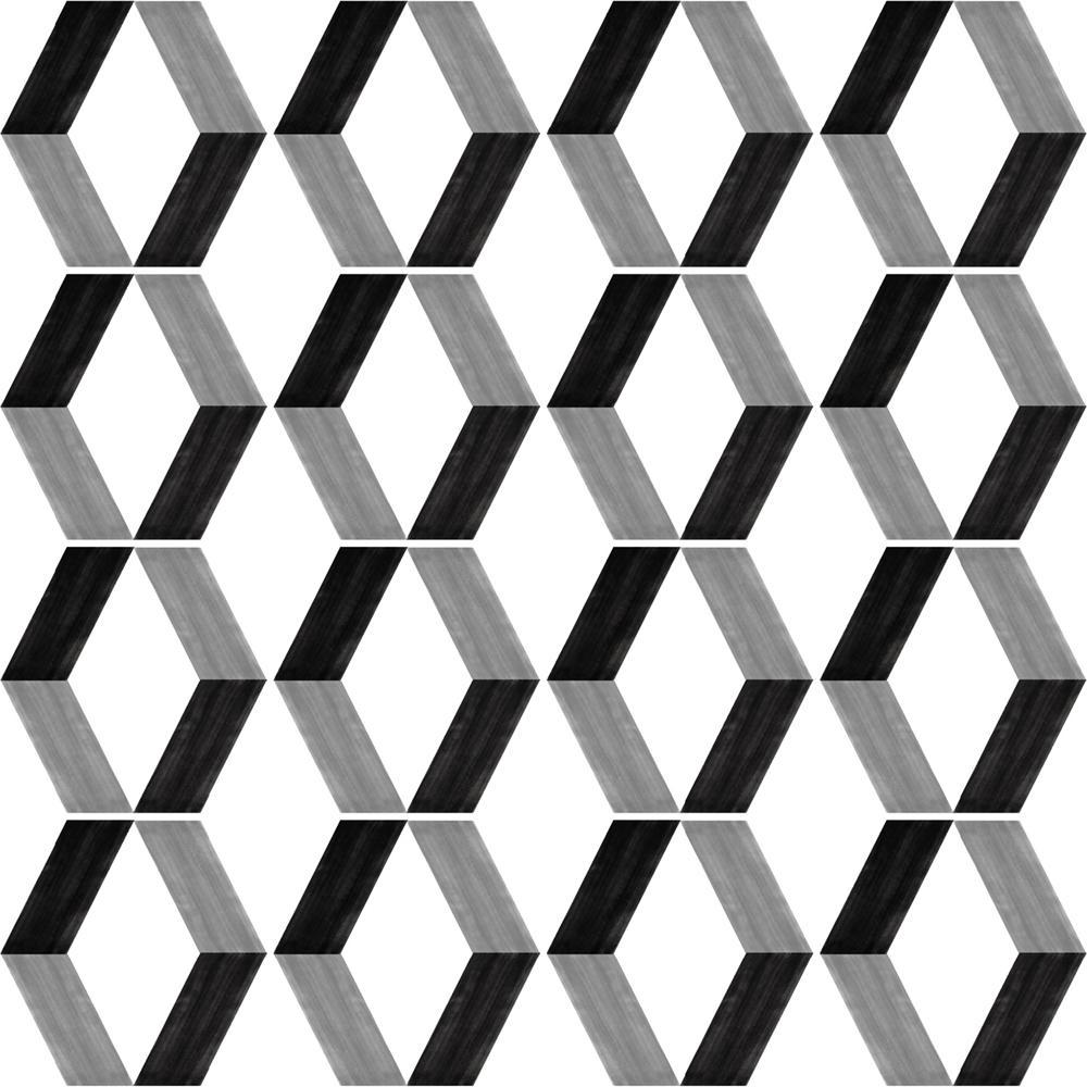 幾何学柄の、モダンのタイルです。壁タイル、床タイル、Pタイルとしてご利用頂けます。並べ方に応じて異なるイメージを構成する事が可能です。