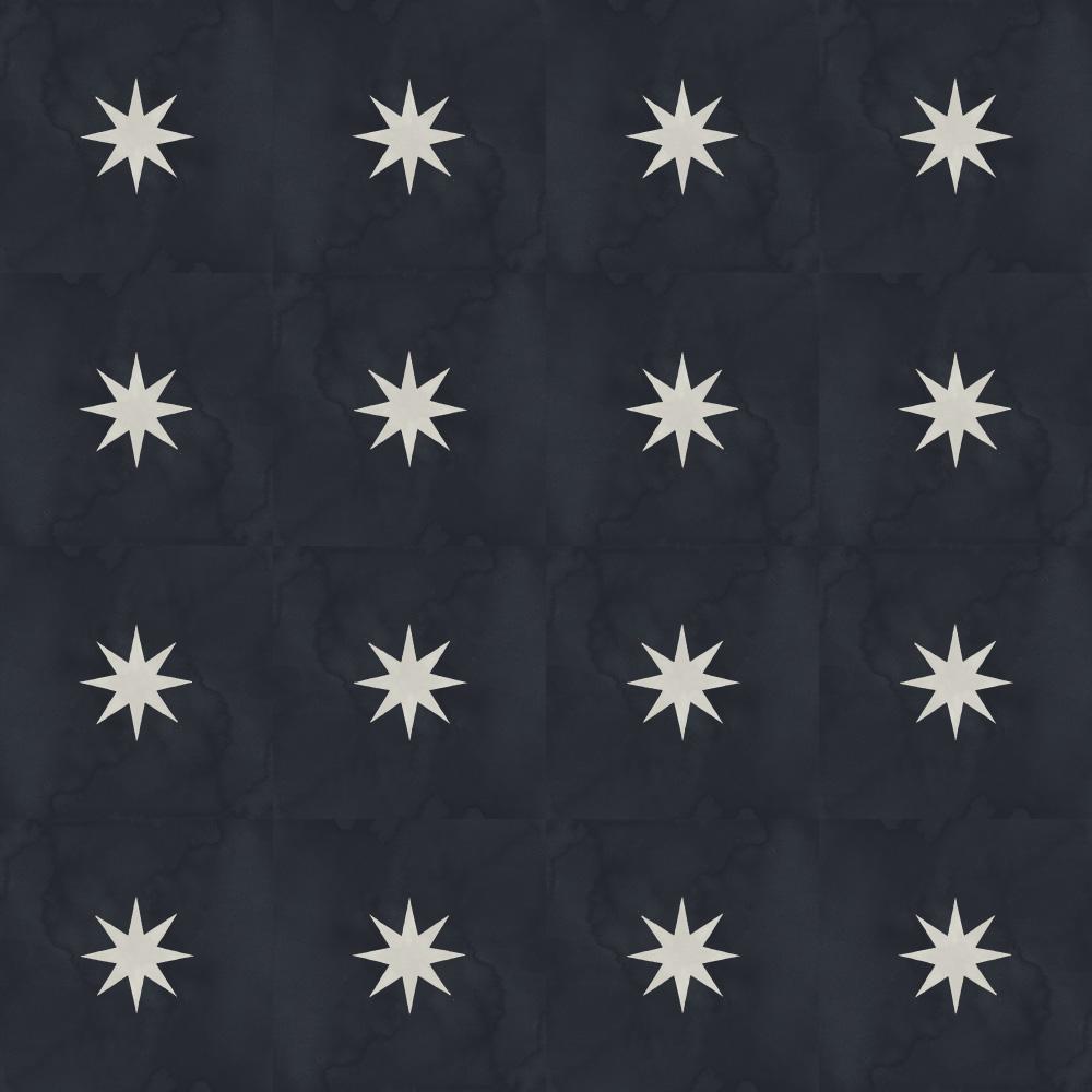 経年変化によるレトロな風合いを再現した夜空を連想させるの黒いテクスチャーの星柄のデザインタイル、四種類の異なるテイクスチャーがあるため、単一柄のみでも表情豊かに仕上がります。
