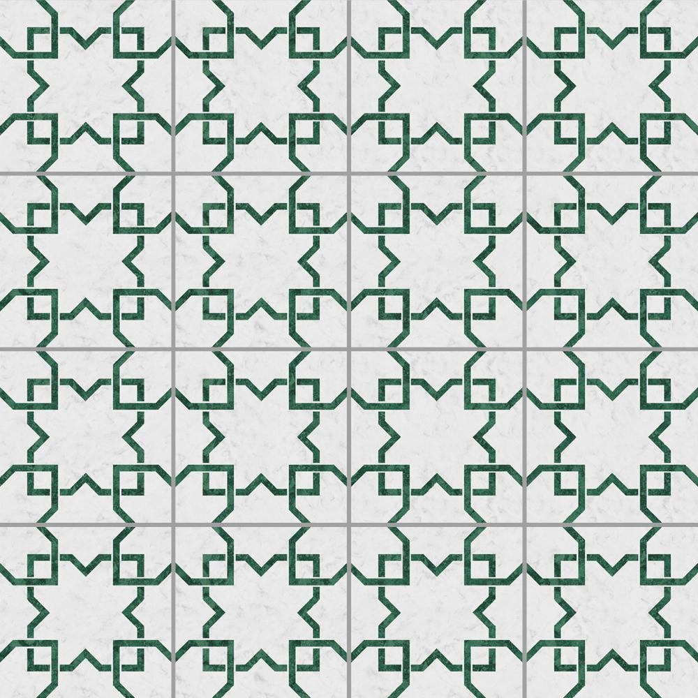 白を基調にした石目にビビットなグリーンの石目調のラインをプリントしたタイル。 トイレ、キッチン、水まわりなど清潔感のある室内にご利用いただけるタイルです。
