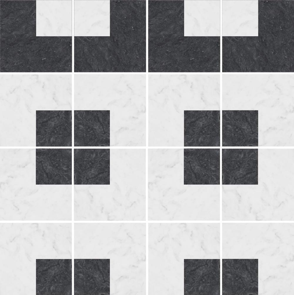 幾何図形の白黒の石目調タイル。 STG-1007-1 , STG-1007-2を組み合わせることで、様々なパターンの再現が可能です。