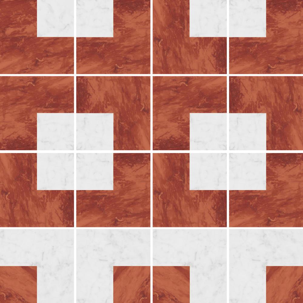 幾何図形の白黒の石目調タイル。 STG-1008-1 , STG-1008-2を組み合わせることで、様々なパターンの再現が可能です。