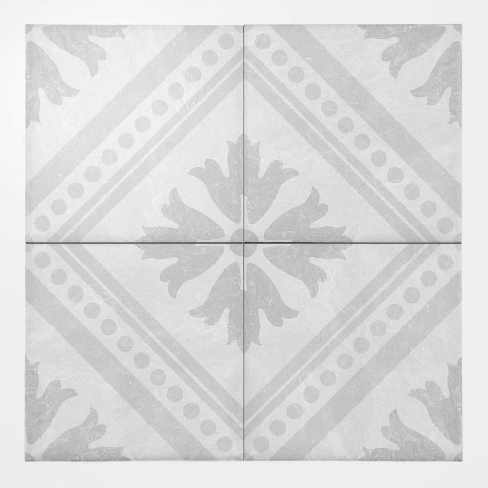 白い石目調に西洋のデコラティブな柄をミックスしたプリントタイル。 カラーは白い石目を基調にした主張の少ない配色です。 室内のアクセントとして、様々なシーンでご使用いただけます。