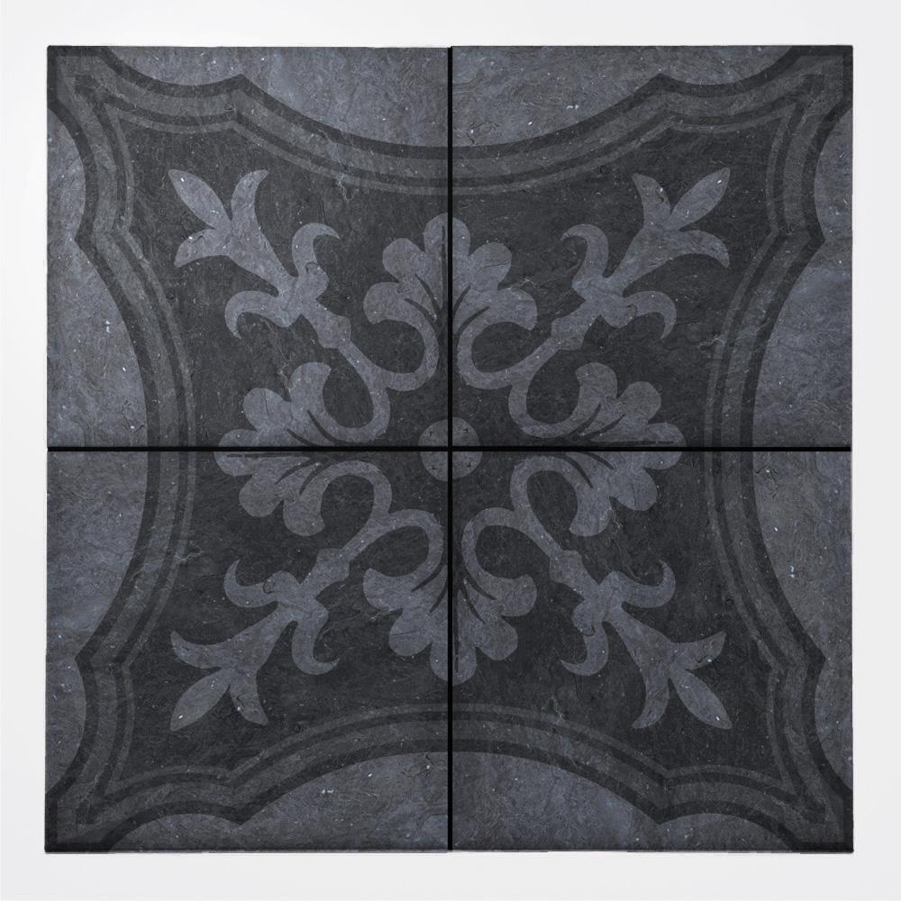 黒い石目長に西洋のデコラティブな柄をミックスしたプリントタイル。 カラーは黒い石目を基調にした主張の少ない配色です。 室内のアクセントとして、様々なシーンでご使用いただけます。