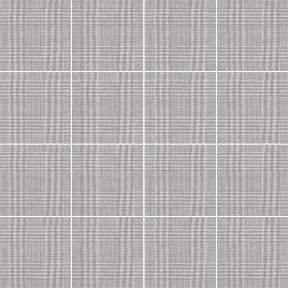 ライトグレーの千鳥格子柄のテキスタイルをプリントしたタイルです。 床、壁材として、内装のアクセントとしてご使用いただけます。